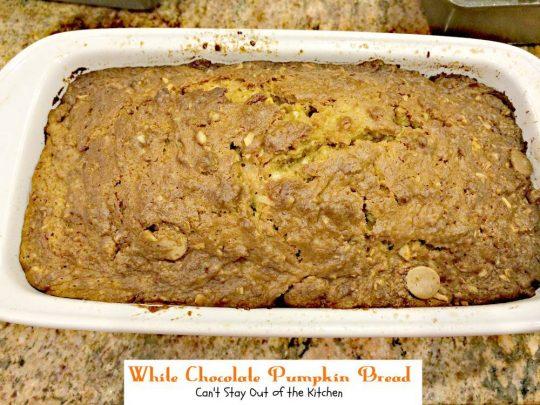 White Chocolate Pumpkin Bread | Can't Stay Out of the Kitchen | fabulous #pumpkinbread is filled with #whitechocolatechips and has a #whitechocolate glaze. #bread #pumpkin #breakfast #dessert