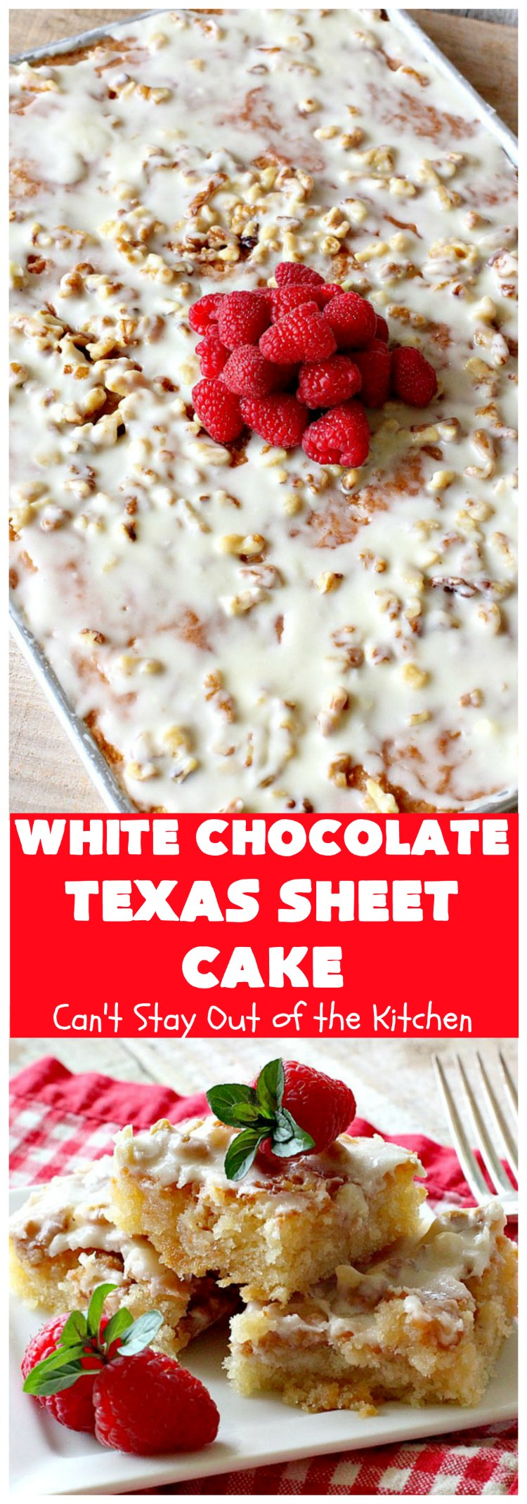 White Chocolate Texas Sheet Cake | Can't Stay Out of the Kitchen | spectacular #TexasSheetCake made with #Ghirardelli #WhiteChocolate instead! Terrific for potlucks, #tailgating parties or any kind of family get-together. #holiday #chocolate #HolidayDessert #ChocolateDessert #WhiteChocolateTexasSheetCake