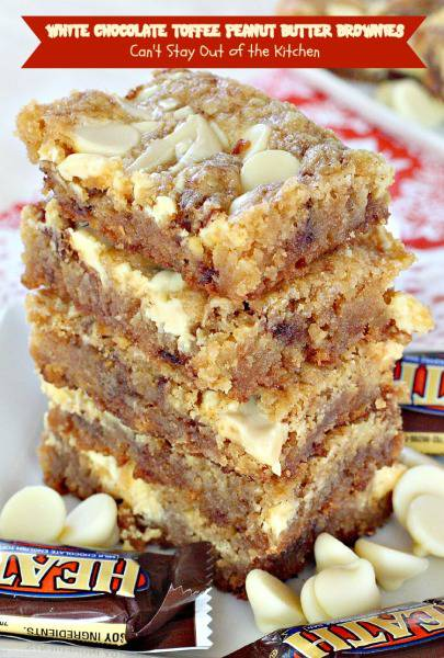 White Chocolate Toffee Peanut Butter Brownies | Can't Stay Out of the Kitchen | these delightful #brownies are filled with #peanutbutter and #HeathEnglishToffeeBits then #whitechocolatechips are swirled into the batter before baking. Amazing! #chocolate #dessert #cookie