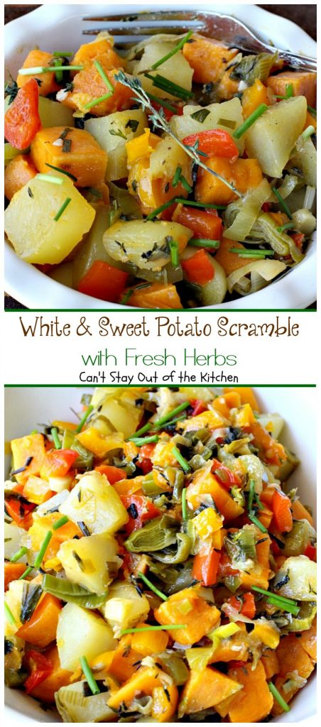 White & Sweet Potato Scramble with Fresh Herbs | Can't Stay Out of the Kitchen