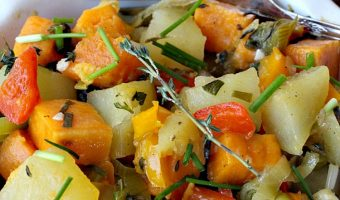 White and Sweet Potato Scramble with Fresh Herbs