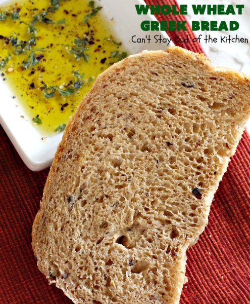 Whole Wheat Greek Bread | Can't Stay Out of the Kitchen | this delicious #Greek-style #bread is made with #olives, #FetaCheese & rosemary. It's wonderful for any kind of dinner menu especially if served with dipping oils. This fantastic tasting bread is a winner! It uses #WholeWheatFlour. #HomeBakedBread #WholeWheatBread #WholeWheatGreekBread #HomeBakedBread