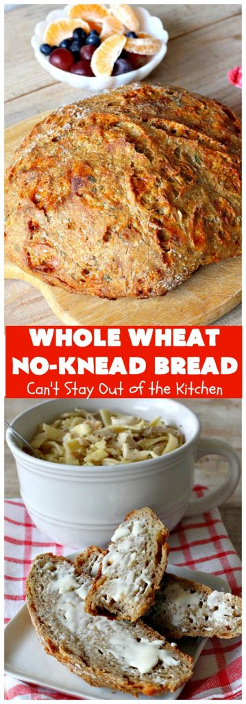 Whole Wheat No-Knead Bread   Can't Stay Out of the Kitchen   fantastic #NoKneadBread using #WheatFlour, #ProvoloneCheese & #SevenGrainCereal. Incredibly easy #HomemadeBread #recipe. #bread #ArtisanBread