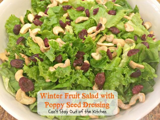 Winter Fruit Salad with Poppy Seed Dressing | Can't Stay Out of the Kitchen | One of our favorite #salad recipes! #apples #pears #lemonpoppyseeddressing