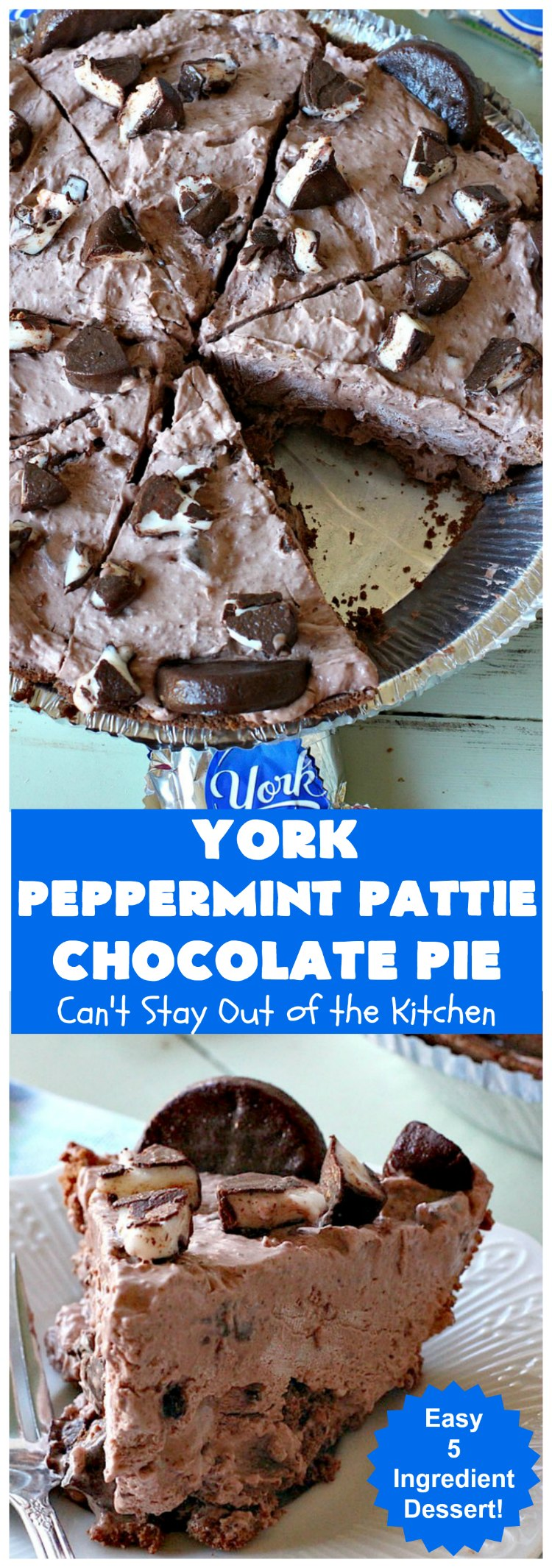 York Peppermint Pattie Chocolate Pie | Can't Stay Out of the Kitchen | this amazing #pie is chocked full of #YorkPeppermintPatties so it has amazing #chocolate & #peppermint flavor. Terrific #dessert for company or #holidays. #ChocolatePie #HolidayDessert #ChocolateDessert #PeppermintDessert #YorkPeppermintPattieChocolatePie