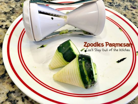 Zoodles Parmesan | Can't Stay Out of the Kitchen | this skinny & delicious side dish is a great way to use up garden #zucchini. #Parmesancheese adds gooeyness to this tasty #casserole. Great for #holiday menus too.