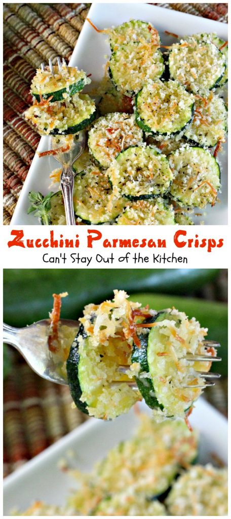 Zucchini Parmesan Crisps | Can't Stay Out of the Kitchen | this amazing #zucchini side dish is quick, easy and delicious. Everyone loves it. #parmesancheese