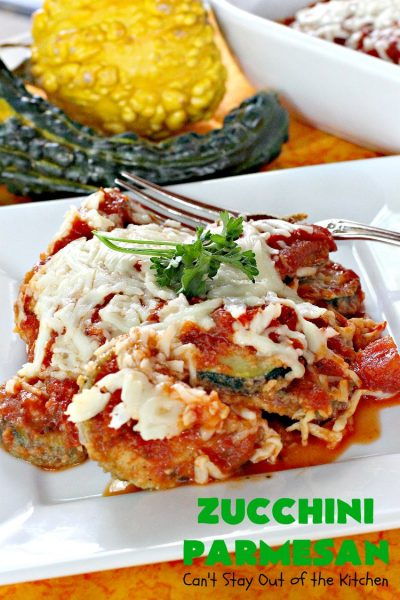 Zucchini Parmesan | Can't Stay Out of the Kitchen | this fantastic #zucchini #casserole is filled with breaded zucchini, #parmesan #cheese & #spaghettisauce. It's terrific for #MeatlessMondays or as a side dish for company & #holidays like #Thanksgiving or #Christmas.