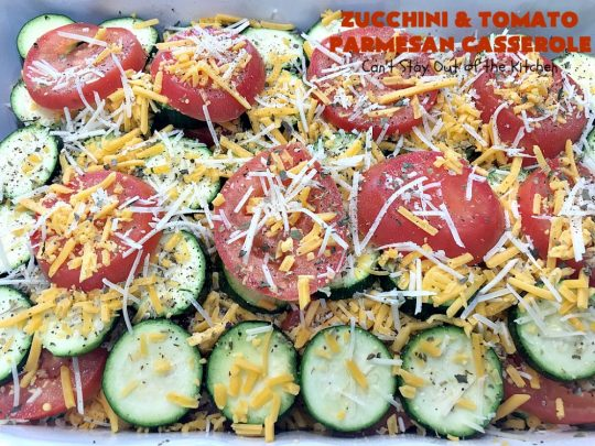 Zucchini and Tomato Parmesan Casserole | Can't Stay Out of the Kitchen | This fantastic #casserole is one of the best #zucchini side dishes you'll ever eat. It got rave reviews from our company. It has great #Italian flavor & is terrific for company or #holiday meals like #Thanksgiving. Great for #MeatlessMondays too. #tomatoes #ParmesanCheese #CheddarCheese #PankoBreadCrumbs  #ZucchiniCasserole #ZucchiniTomatoCasserole #HolidaySideDish #ZucchiniAndTomatoParmesanCasserole