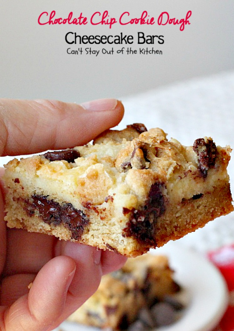Chocolate Chip Cookie Dough Cheesecake Bars - Can't Stay Out of ...